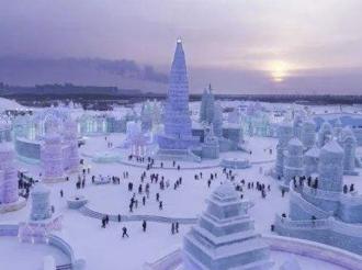 哈尔滨冰雪大世界冰建施工开始 预计年底开园