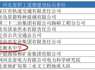 """衡水中学荣获""""河北省职工道德建设标兵单位""""称号"""
